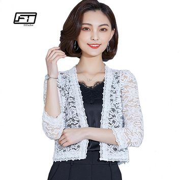 Fitaylor 2018 Summer New Thin Knit Shawl Cardigan Women Casual Three Quarter Sleeve Short Coat Lace Hollowed Out Jacket