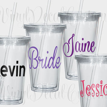 DURABLE CLEAR Personalized Cup | Name Cup | Cup Name | Monogram | Custom Cup | Custom Tumbler | Wedding, Wedding Party, Event, Bachelorette