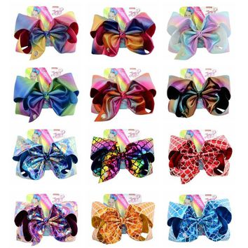 "8"" Jojo Hair Clip gradual change Mermaid Fish scales printed Large Hair Bow Clip Handmade Hair Accessories Gifts For Girls"
