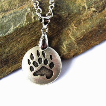 Bear Paw Print Necklace Charm Button Pendant Jewelry by HendysHome