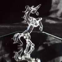 Small Glass Unicorn Rearing Figurine