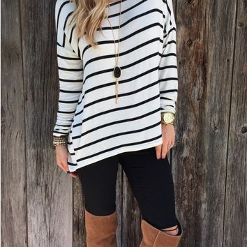 Stripe Long Sleeves Loose Shirt