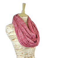 Red Infinity Jersey Scarf Heather White Wide Long