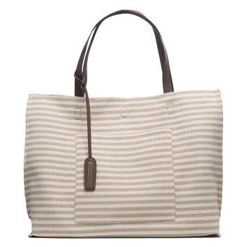 Tan Stripe Reversible Handbag Tote