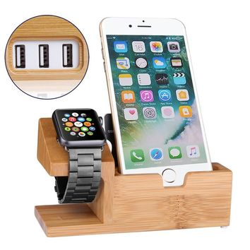 Bamboo Wood Charger Cradle for iphone X 87 6 6S Plus