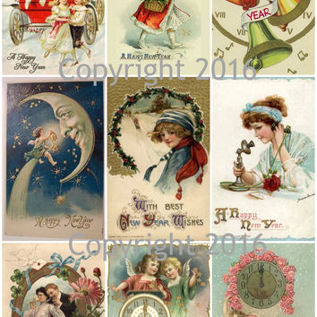 Printed Vintage Victorian New Years Cards Collage Sheet