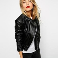 ASOS Leather Assyemtric Mixed Quilted Biker
