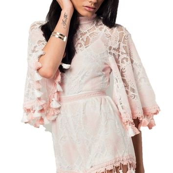 Lace romper with tassels in pink