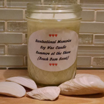 Scented Candle Summers at the Shore Beach Bum Scented Hand Poured Scented Soy Candle