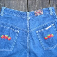 Vintage 70s 3 4 26x33 High Waist Strawberry BonBon Jeans