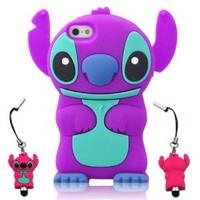 I Need's 3d Cute Movable Ear Flip Stitch & Lilo Silicone Cover Case for Iphone 5 with 3d Stitch & Lilo Stylus Pen -Purple/blue purple/blue