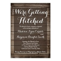 Antique Wood Getting Hitched Wedding Invitations