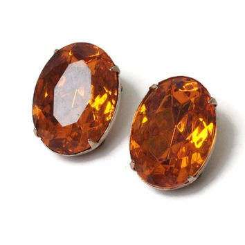 Amber or Topaz Glass Oval Earrings Clip On Gold Tone Vintage