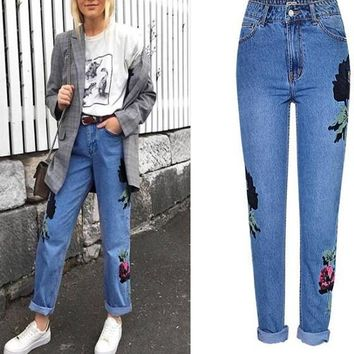 New Blue Floral Zipper Pockets High Waist Boyfriend Long Jeans