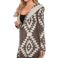 Brown Southwest Wool-Blend Hooded Toggle Cardigan