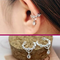 Dangling Flower Crown Rhinestone Ear Cuff(Single, No Piercing)