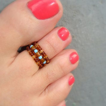 Toe Ring: Topaz Luster Mix, Baby Blue Glass Seed Bead Toe Ring