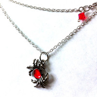 Little silver crab pendant with red rhinestone, zodiac necklace,crab pendant, crab necklace, cancer sign ,beach necklace, nautical jewelry