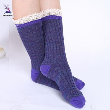 DOUDOULU Fashion New Arrival 1 Pair Women Lace Crochet Knitted Leg Plush Cover Trim Socks Dropshipping