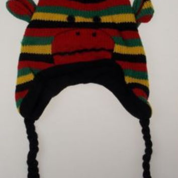 Lot of 2 Sock Monkey Hat Rasta Reggae Knit Fleece Lined Red Black Yellow Green
