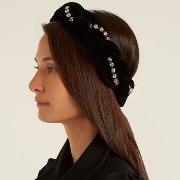 GUCCI Crystal-embellished braided-velvet headband +GUCCI Gift box