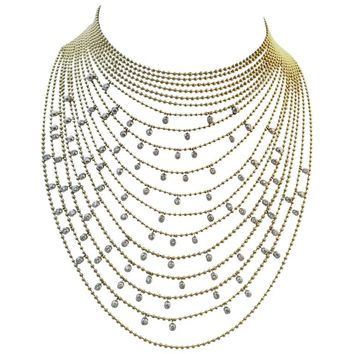 Cartier Sublime Diamond Gold Draperie Necklace Set