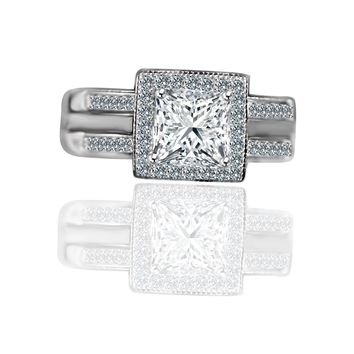 Princess Cut square 1 CT. w/Halo Ring housed in a Double band jacket Simulated Diamond -Diamond Veneer Engagement/Wedding Ring 635R4012