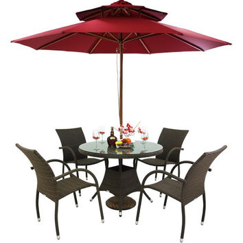 Outdoor Rattan Patio Furniture New Leisure 5 Pc Dining Table Set with 4 Chairs