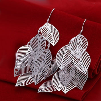 [flash Elegant Fashion Jewelry 925 Silver Plated Stud Dangle Earings Eardrop A Banch Of Leaves = 5988008897