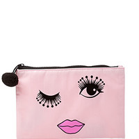 FOREVER 21 Winking Pompom Cosmetic Case Light Pink/Black One