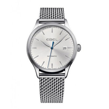Ebel 100 Classic Steel Case Silver Dial Automatic Mens Watch 1216148