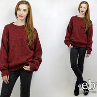 Oversized Knit Oversized Jumper Chunky Sweater Chunky Knit Red Sweater Wool Sweater L Sweater Normcore Sweater Minimalist Sweater