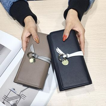 AOEO Black Woman Wallet Female Wristlet Slim 9 Card Holder Pu Leather Ladies Travel Purse Cute Phone Money Cash Coin Bag Wallets