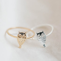 owl knuckle ring,Jewelry,Ring,knuckle ring, cute ring,dark night,animal,owl ring,owl,animal ring,owl jewelry,wise owl,baby owl ring