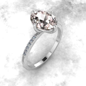 Pink Peach Oval Morganite 14K White Gold Engagement Ring Wedding Ring Morganite Jewelry Diamond Ring Solitaire Ring