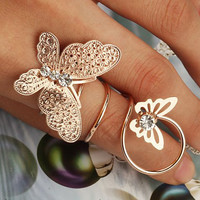 Chic Rhinestone Butterfly Coil Ring