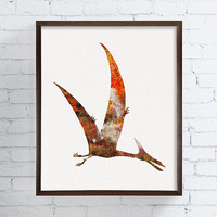 Pteranodon Art Print, Dinosaur Art Print, Dinosaur Poster, Dinosaur Wall Decor, Watercolor Dinosaur, Kids Room Decor, Baby Boy Nursery Art