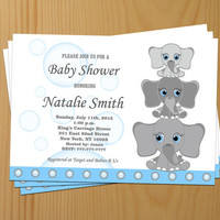 Boy Baby Shower Invitations Elephant Baby Shower Invitation Boy Baby Shower Invitation Invites (L6) - Free Thank You Card - Instant Download