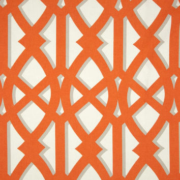 Orange Tangerine trellis white pillow cover, Fabric both sides, Orange geometric print pillow cover, all sizes available
