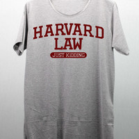 HARVARD LAW - Just Kidding T Shirts Tee Shirt screen maroon handmade silk screen printing size M and L