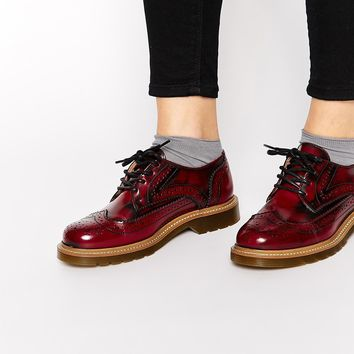 Bronx Oxblood Brogue Flat Shoes