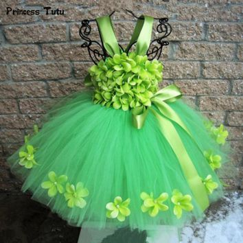 Green Girls Flower Tutu Dress Tulle Tinker Bell Fairy Princess Dress Kids Wedding Birthday Party Dresses For Girls Costumes 1-14
