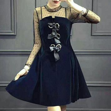 LMFV9O Chanel' Women Temperament Fashion Velvet Stitching Perspective Gauze Long Sleeve Mini Dress