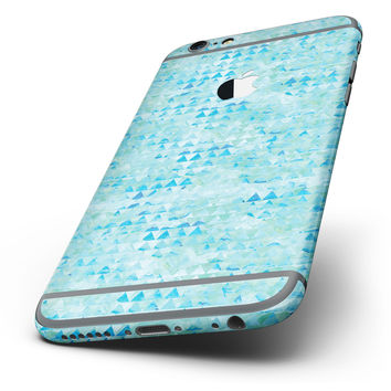 The Blue Textured Triangle Pattern Six-Piece Skin Kit for the iPhone 6/6s or 6/6s Plus