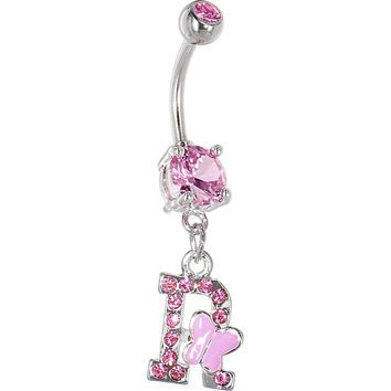 "Pink Gem Butterfly INITIAL Dangle Belly Ring - LETTER ""R"""