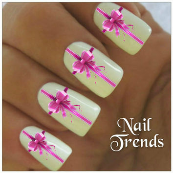 Christmas Nail Decal 20 Pink Bows Vinyl Stickers Nail Art
