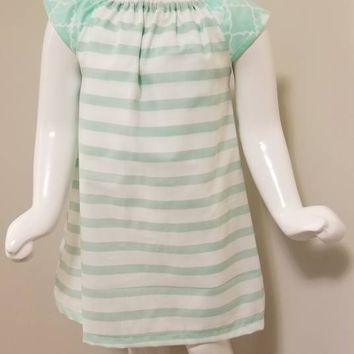 Mint Stripe A-line dress