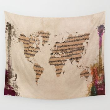music world map Wall Tapestry by jbjart