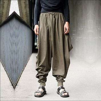 Unique Design Men's Casual Linen Harem Pants Personality Big Crotch Pants Loose and Plus Size Male Trousers