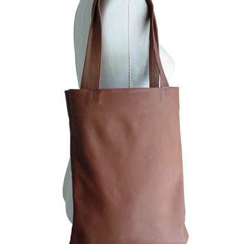 Basic leather tote, Goatskin bag Hand stitched bag Cocoa Brown leather bag, Hand stitched leather tote, Goatskin, soft leather bag, only one